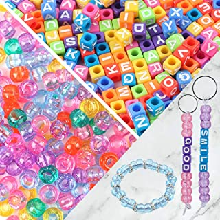 Quefe 1000pcs Jewelry Making Beads Kit Letter Beads Acrylic Cube Beads Large Hole Beads Alphabet Beads with 9 Meters Elastic String for Bracelets, Necklaces and Key Chains