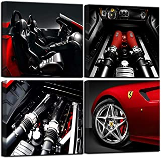 Wall Decorations for Living Room Decor for Men Black and White Wall Art Red Car Decor Ferrari Engine Feature Boy Room Decor Car Posters Home Decorations 4 Piece Framed Canvas Wall Art