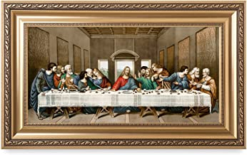 DECORARTS. The Last Supper, Leonardo da Vinci Classic Art Reproductions. Wall Art Wall Decor Medium Gold P03002F852412