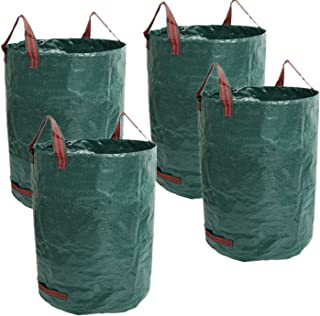32 Gallons Reusable Garden Waste Bags - 4 Pack Reusable Lawn Bags (D18, H30 inches) Garden Bag Landscaping Bags Yard Bags ...