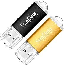 SunData Clé USB 16 Go Lot de 2 USB 2.0 Flash Drive Mémoire Stick Stockage Données Pendrive avec Lumière LED (2 Couleurs: N...