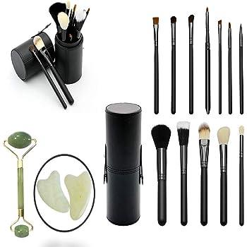 set 12 brochas de maquillaje con estuche negro sombra pinceles delineador de ojos, brush colorete, corrector de polvo de REGALO rodillo facial de piedra de jade cuarzo: Amazon.es: Belleza