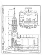 Historic Pictoric Structural Drawing HABS NY,3-Bronx,1- (Sheet 4 of 6) - Fordham Manor Reformed Church, 71 Kingsbridge Road & Reservoir Avenue, Bronx, Bronx County, NY 44in x 55in