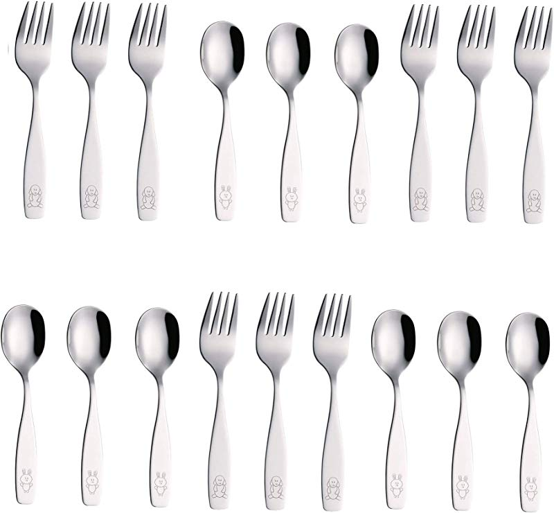 Exzact Stainless Steel 18 Pieces Childrens Flatware Kids Silverware Cutlery Set 9 X Children Forks 9 X Children Dinner Spoons Safe Toddler Utensils Engraved Dog Cat Bunny WF850 S18FS