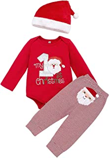 Arleysh Christmas Outfits Baby Boys Girls My 1st Christmas Santa Claus Rompers Bodysuit Pants with Christmas Hat 3 Pcs