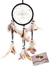Dream Catchers Brown Handmade Feather Native American Dreamcatcher Circular Net for Car Kids Bed Room Wall Hanging Decoration Decor Ornament Craft, Dia 4.33inch/11cm Length 48cm/18.9inch