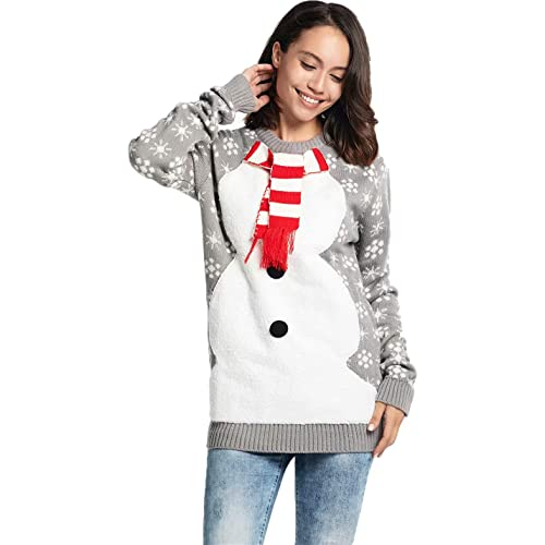 be633193940aac Women s Ugly Christmas Sweater Fluffy Snowman with Real Scarf Xmas Pullover  - Fluffy Festive Feels