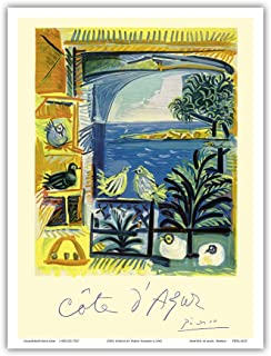 Côte d'Azur - Picasso's Studio Pigeons Velazquez - Vintage World Travel Poster by Pablo Picasso c.1962 - Master Art Print ...