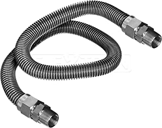 Flextron FTGC-SS12-72A Flexible Gas Line, Gas Pipe Connector With 5/8 in. Outer Diameter and 1/2 in. Inside Diameter; 1/2 in. MIP x 1/2 in. MIP Fittings; Uncoated Stainless Steel Gas Hose 72 in. Long