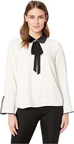Long Sleeve Collared Blouse w/ Neck Tie and Ruffle