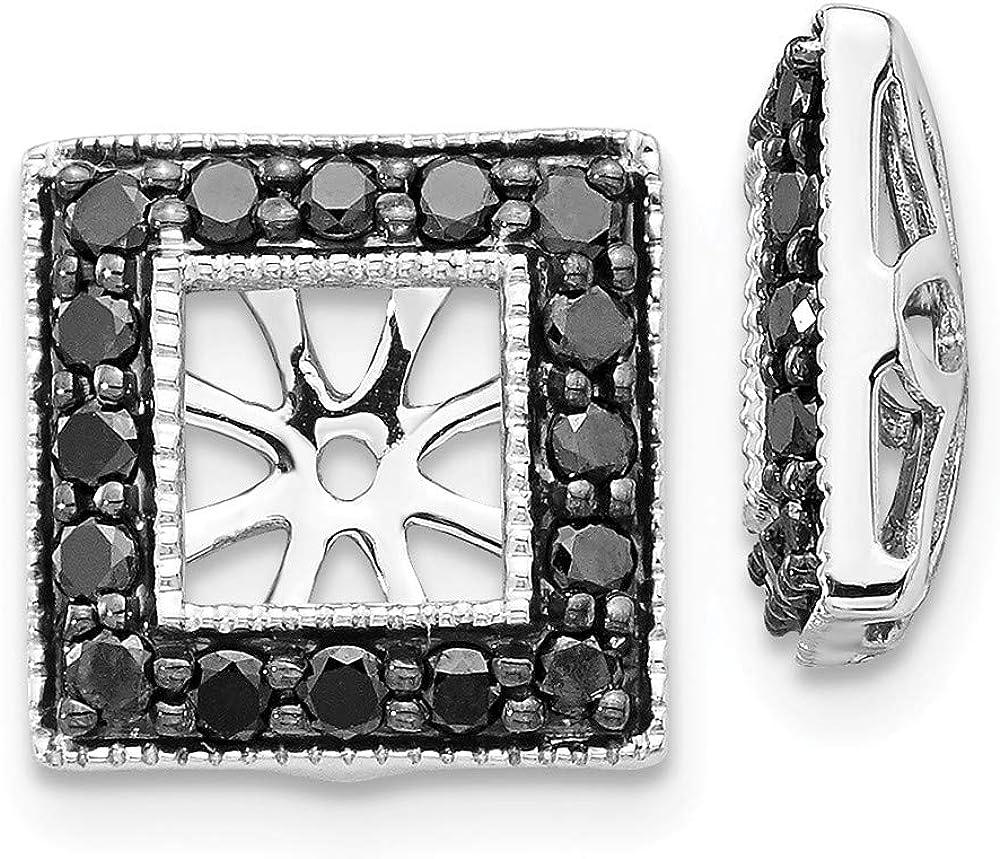 Affluent Rock 14k White Gold Black Diamond Square Jacket Earrings (0.39