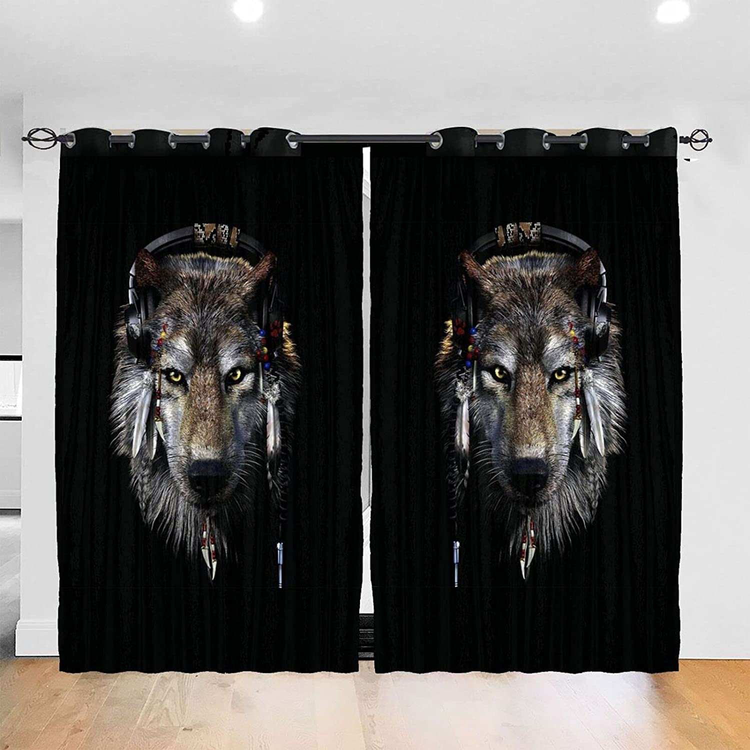 Native American Wolf Thick Soft f Curtains Panel Complete Free Shipping Blackout Window gift