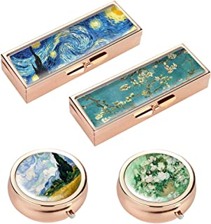 Hennaja Rectangle Pill Box and Round Pill Box,Decorative Pocket Purse Portable Travel Pill Case & Medicine Organizer(2 Pack,2-Van Gogh)