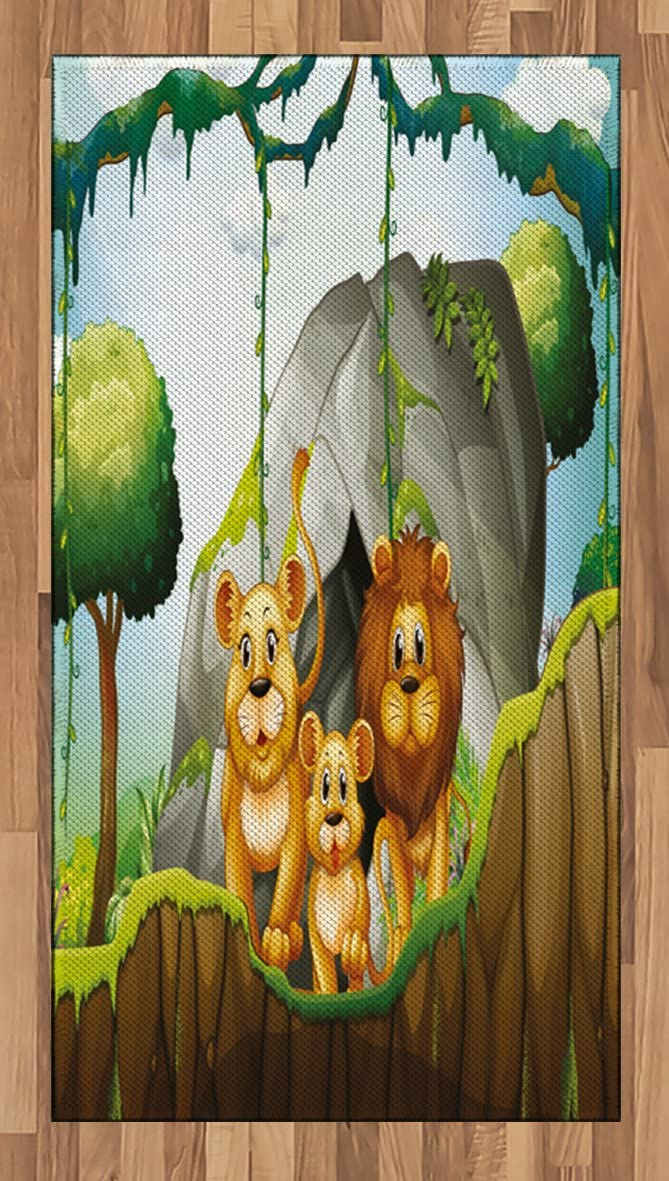 Lunarable Forest Regular store Area Rug Lion Family The Columbus Mall in with Jungle Woods