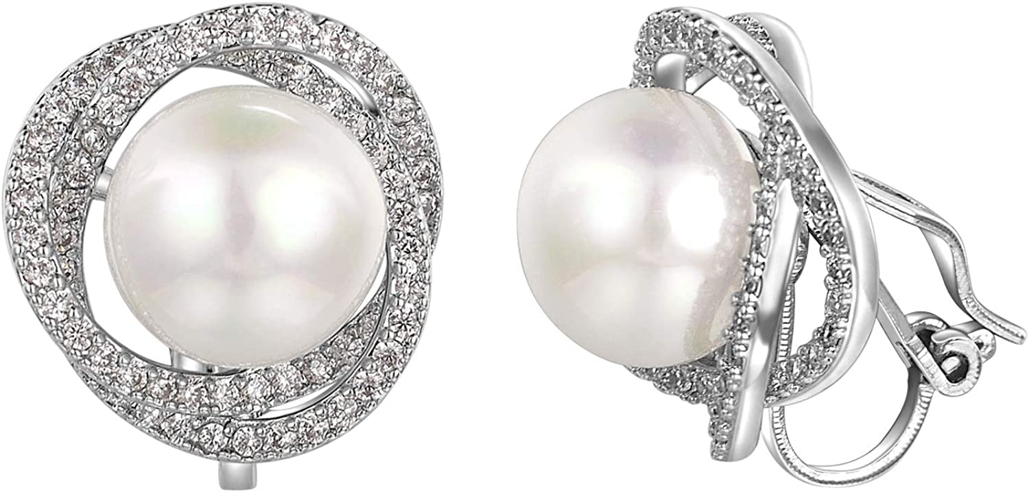 vogem Simulated Pearl Clip On Earrings For Women Artificial Pearl White Gold Plated Clips Earrings For Non Pierced Ears