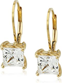 Platinum or Gold Plated Sterling Silver Princess Cut Leverback Earrings made with Swarovski Zirconia