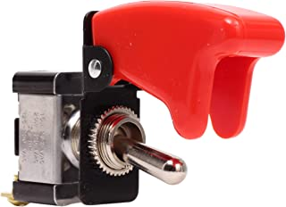 Fastronix SPST ON-OFF Heavy Duty AC/DC 20A Toggle Switch with Red Aircraft Safety Cover