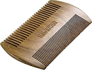 Beard Comb, Natural Wood Mustache Comb with Fine & Coarse Teeth for Men by HAWATOUR - Green Sandalwood