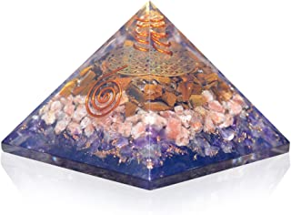 Orgonite Crystal Ultimate Triple Weight Loss Pyramid with Tiger Eye, Sunstone and Amethyst Healing Crystals –Boost Your Me...