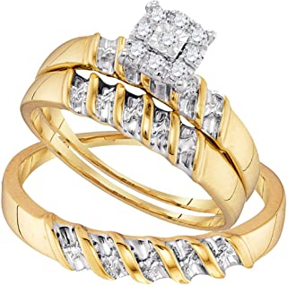 FB Jewels 10K Yellow Gold Sterling Silver Diamond Yellow Tone His & Hers Matching Trio Wedding Engagement Ring Set 1/7 Cttw