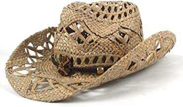 SMC AZV 100% Natural Jazz Straw Cowboy Hat Women Men Handwork Weave Cowboy Hats for Lady Dad