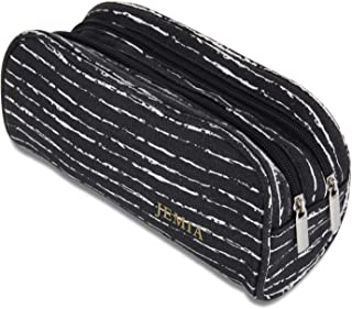 JEMIA - Black Canvas Pencil Case with 2 Compartments Zipper Organizer Storage to Organize Office Stationary and Cosmetic Makeup Supply for Kid, Teen, Boy, Girl or Adult for Men, Women