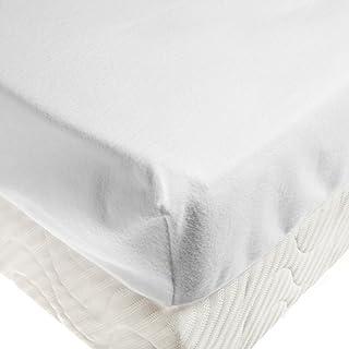 Tradition des Vosges Protège Matelas Drap-Housse Molleton Gratte 80 x 190 cm Bonnet de 30 cm Blanc