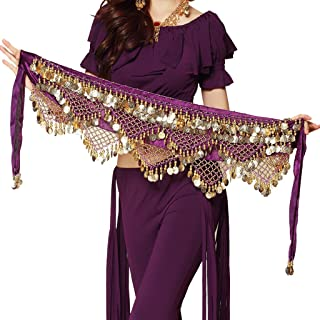 Women's Sweet Bellydance Hip Scarf With Gold Coins Skirts Wrap Noisy