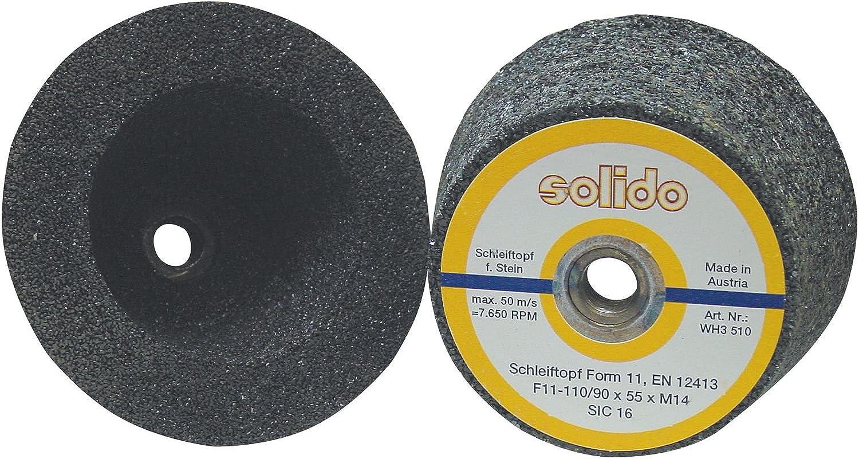 SOLIDO SO110K16 Schleiftopf kegelig 110 90 90 90 x 55 Aufnahme M14 Korn 16 für Gestein B07JB1QJX9 | Mode-Muster  454d4b
