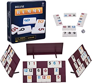 Rummy 106 Tiles Rummy with 4 Sturdy Racks& Instructions Rummy Tiles Iron Box Suit for 2-6 Players