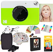 Kodak Printomatic Instant Camera (Green) Gift Bundle + Zink Paper (20 Sheets) + Deluxe Case + 7 Fun Sticker Sets + Twin Tip Markers + Photo Album + Hanging Frames + Comfortable Neck Strap
