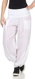 : Blanc Pantalons Femme : Vêtements