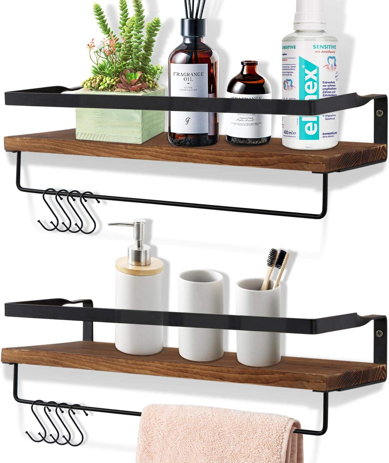 OurWarm Rustic Floating Shelves Wall Mounted Set of 2, Wood Wall Hanging Shelf for Bathroom, Living Room, Bedroom, Kitchen, Farmhouse Storage Shelves Organizer with 8 Removable Hooks and 2 Towel Bar