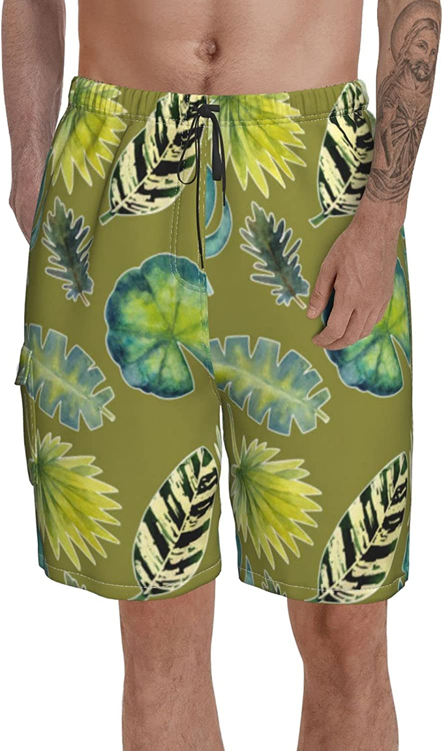 Classic Swimming Trunks Men Swim Clearance 2021new shipping free shipping SALE Limited time Elastic Tropical Leaves Shorts