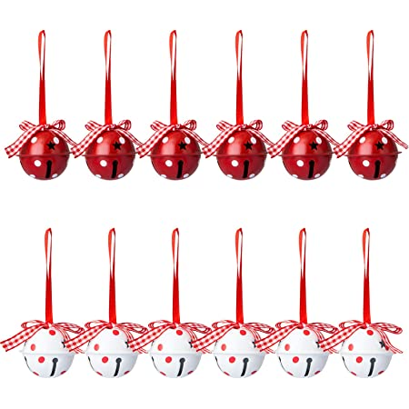 llxieym 8 Pieces Jingle Bells Christmas Star Bells 2.56 Inches Craft Bells Ornament for Christmas DIY Decoration red