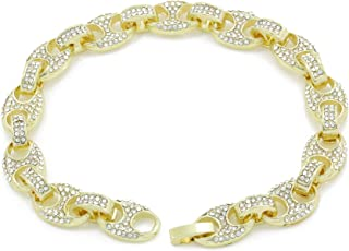 Men's Bling Icy Mariner Link Choker Necklace/Bracelet Gold Finish Lab Created Diamonds 8MM (8.5-30 inches)
