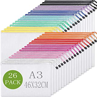 26pcs Mesh Zipper Pouch Document Bag, Plastic Zip File Folders, Letter Size/A4 Size, for School and Office Supplies (A3-26...