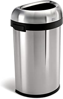 simplehuman 60 Liter / 15.9 Gallon Commercial Heavy-Gauge Stainless Steel Large Semi-Round Open Trash Can, Brushed Stainless Steel