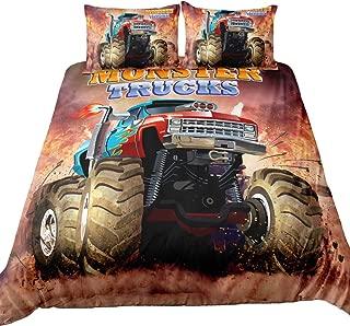 Suncloris,3D Monster Truck Home Bedding,Monster Truck Off Road Mud Fighting Crazy Monster Truck Duvet Cover Sets.Included: Duvet Cover,Pillowcase(no Comforter Inside) (Twin)
