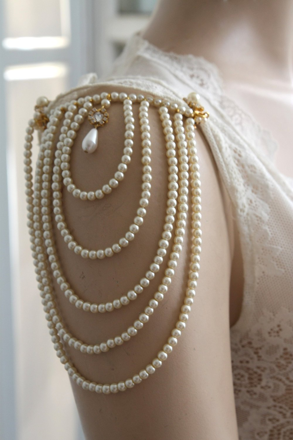 Shoulder Epaulettes Bridal Austin Mall Jewelry Ivory Sale item Pearls Accessories And