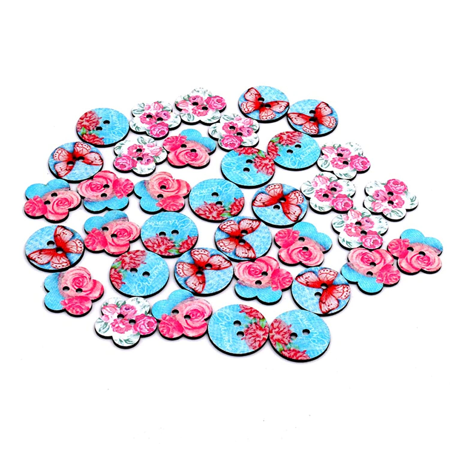 100pcs Mixed Wooden Buttons Pink Blue Butterfly Flower Shape Craft Round Assorted Buttons for Sewing DIY Crafts 25mm (Blue)