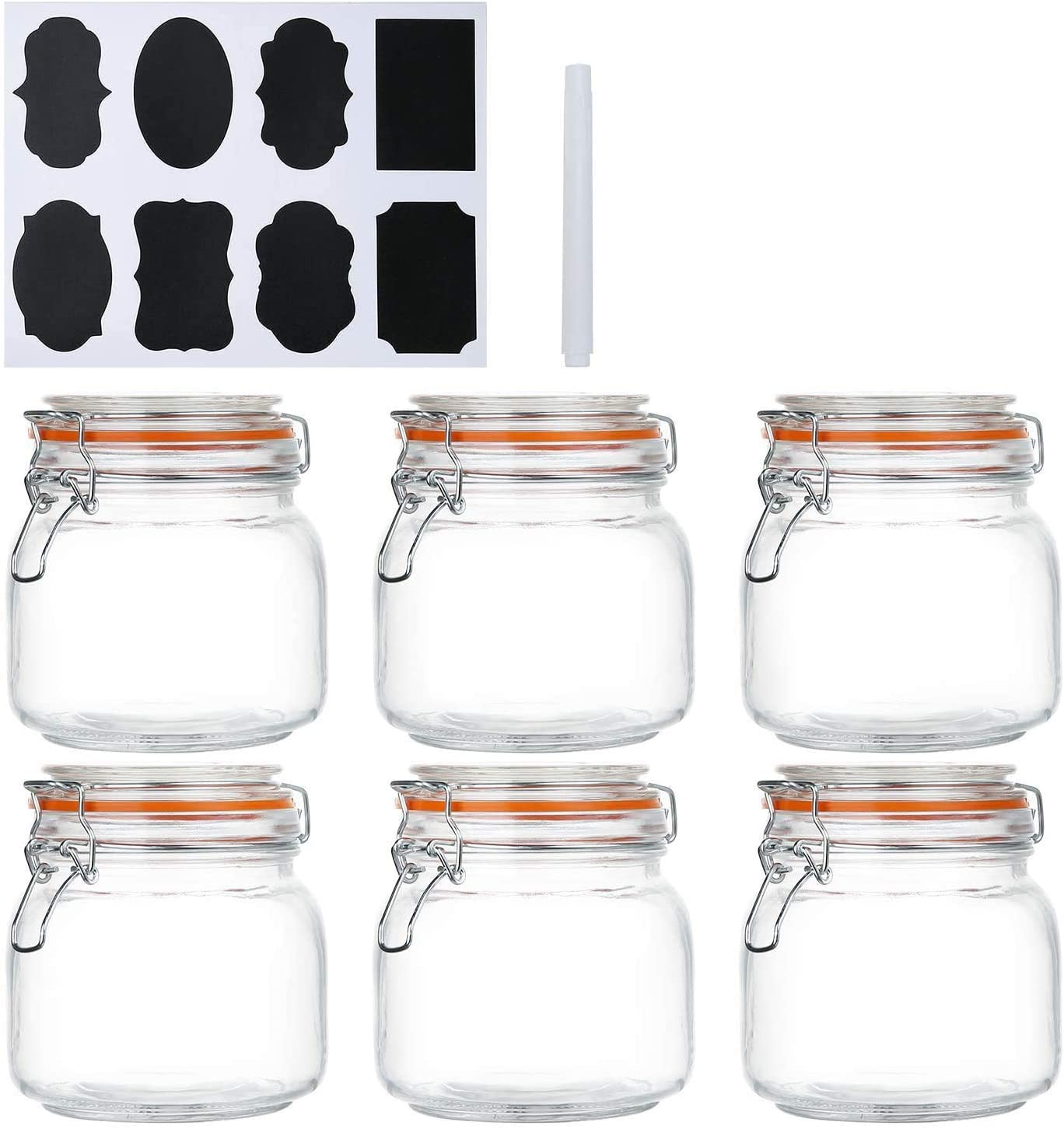Encheng 25 oz Glass Jars With Proof And Be super welcome Airtight Rubbe Leak Max 45% OFF Lids