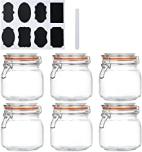 Encheng 25 oz Glass Jars With Airtight Lids And Leak Proof Rubber Gasket,Wide Mouth Mason Jars With Hinged Lids For Kitche...