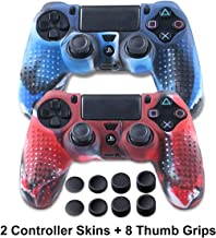 Silicone Skin for PS4 Controller - Anti-slip Covers for DualShock 4 - Protector Case for Sony PS4/Slim/Pro Accessories - 2 Pack PS4 Controller Skins - 4 Pairs Thumb Grips for PS4- Camo Blue & Camo Red