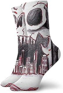 tyui7, Calcetines de compresión antideslizantes de construcción de dibujo de calaveras Calcetines deportivos de 30 cm acogedores para hombres, mujeres, niños