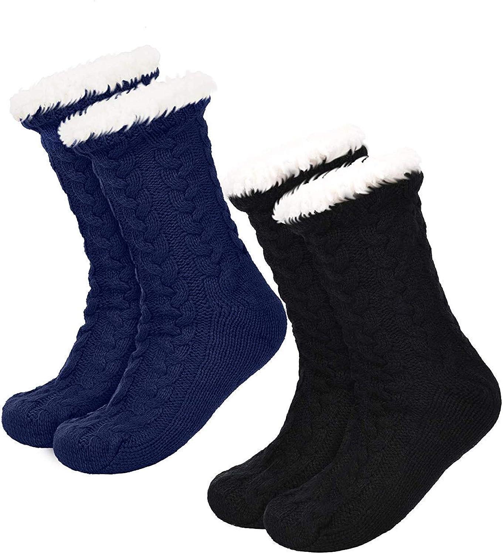 VIVICMW 2 Pairs Women's Warm Slipper Socks Soft Warm Cozy Fuzzy Sock Winter Thick Fleece Lined Home Slipper Sock