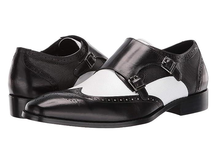60s Mens Shoes | 70s Mens shoes – Platforms, Boots Stacy Adams Lavine Wingtip Double Monkstrap BlackWhite Mens Shoes $90.00 AT vintagedancer.com