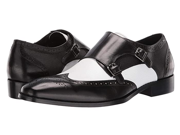 1950s Mens Shoes: Saddle Shoes, Boots, Greaser, Rockabilly Stacy Adams Lavine Wingtip Double Monkstrap BlackWhite Mens Shoes $101.40 AT vintagedancer.com