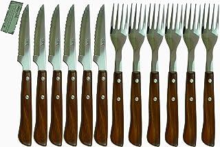 Juego Cuchillos y Tenedores Chuleteros Madera Celaya Lote 12 Uds.