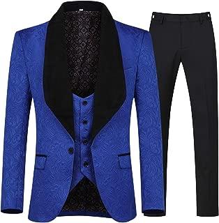 YFFUSHI Men's 3 Piece Suit Slim Fit Jacquard Tuxedo One Button Shawl Collar Jacket Vest & Trousers